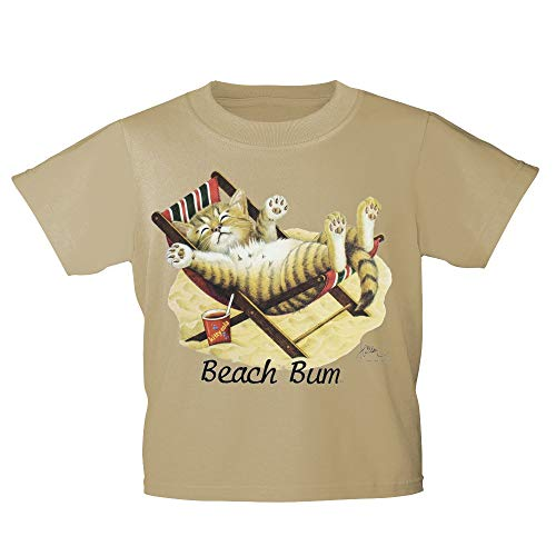 Kinder T-Shirt mit Print Cat Katze im Liegestuhl Beach Bum KA063/1 Gr. 122-164 Farbe beige, Größe 122/128