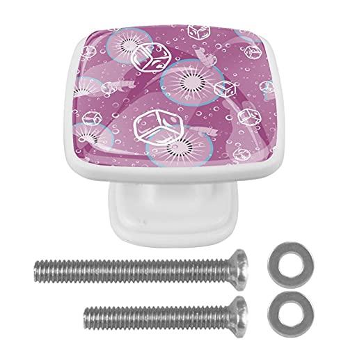 Maniglie per armadietti Manopole per cassetti della scrivania della portaghiaccio e kiwi. Maniglie in cristallo 4 pezzi