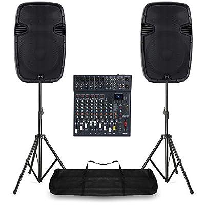 Medium PA Speaker System 10 Ch Bluetooth DJ Mixer 1600W Stage Sound with Stands