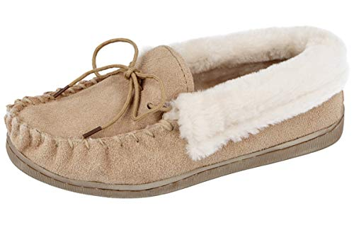 Cushion Walk Ladies Real Suede Leather Faux Sheepskin Fur Lined Moccasin Slippers Size 4-8 (Beige, 7)