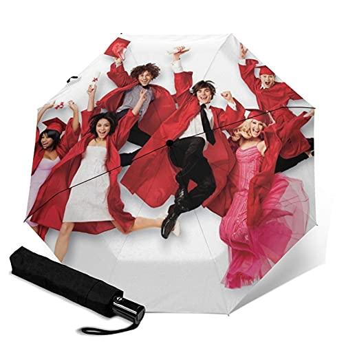 Paraguas musicales de la escuela secundaria automático triple paraguas de viaje sombrilla portátil con mango adulto niños unisex