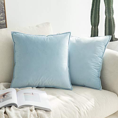 MIULEE Terciopelo Funda de Cojine Brida Funda de Almohada del Sofá Throw Cojín Decoración Almohada Caso de la Cubierta Decorativo para Sala de Estar 45x45cm 18x18 Inch 2 Piezas Azul Claro