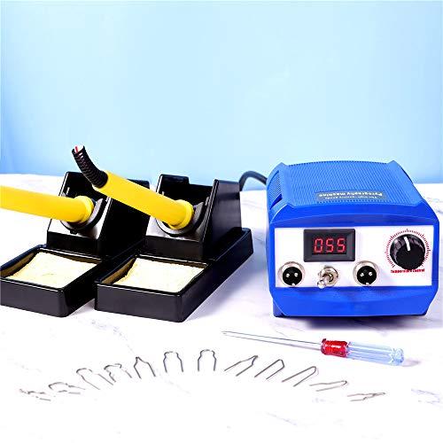 S SMAUTOP Máquina de Pirografía 60W con 20 Tips Control de Temperatura Ajustable Soldador Pirografo Electrico Profesional para Madera Cuero y Calabaza (Puerto Dual + Pantalla Digital)