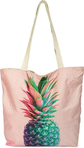 styleBREAKER kleine Strandtasche mit Buntem Ananas Print, Reißverschluss, Shopper, Einkaufstasche, Stofftasche, Tasche, Damen 02012223, Farbe:Rose