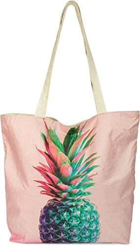 styleBREAKER kleine strandtas met kleurrijke ananasprint, rits, shopper, boodschappentas, doekzak, tas, dames 02012223, Farbe:Roos