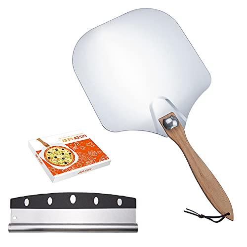 Swetup 2 Piezas Pala para pizza Set, Cáscara de Pizza con Mango de Madera Desmontable + Cortador de Pizza, Cortador de Pizza Profesional de Acero Inoxidable para Hornear Pizza, Pastel, Galletas