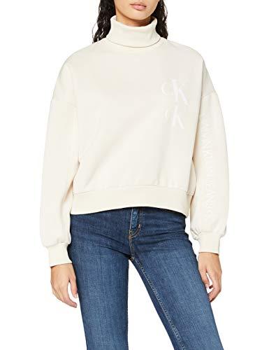 Calvin Klein Jeans Damen Oversized Sweatshirt W Roll Neck Pullover, Soft Cream, L