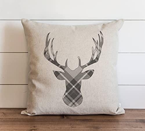 Funda de almohada de ciervo a cuadros grises con cierre de cremallera oculto para sofá, banco, cama, decoración del hogar, 60 x 60 cm