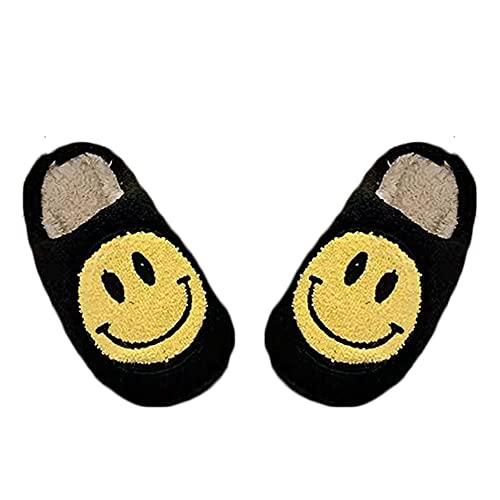 WESYY Retro Smiley Face Soft Plush Comfy Warm Slip-on Slippers,Fluffy Ladies Slippers,Light Breathable Anti-Slip Slippers,Women s Retro Open Toe Fluffy Cute Smiley Face Slippers (Black, 6 7)