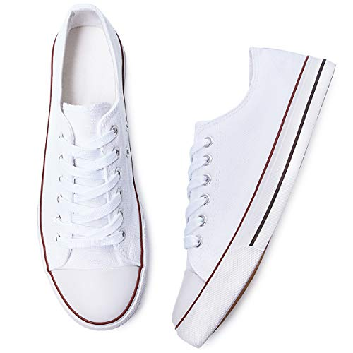 Adokoo Womens Canvas Shoes Casual Cute Sneakers Low Cut Lace up Fashion Comfortable for Walking(White,US7