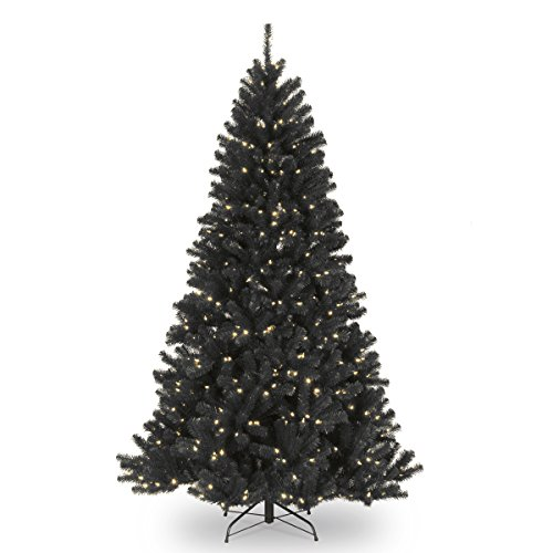 National Tree Company Pre-lit Artificial Christmas Tree | Includes Pre-strung White Lights and Stand | North Valley Black Spruce - 7.5 ft