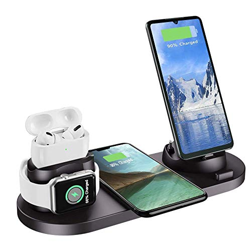 6 in 1 Charger Station Compatible with iPhone/Android/Type-C, Aqonsie Qi Fast Wireless Charging Dock Stand for Apple Watch/AirPods Pro/AirPods/iPhone/Samsung/Huawei/HTC/LG (Black)