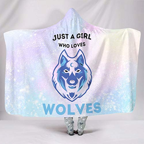 STELULI Hooded Blanket JUST A GIRL LOVES WOLVES Lightweight Cozy Luxurious Funny Robe Hoodies - Fits Midday Rest for Adult/Women/Men Gift white 50x60 inch