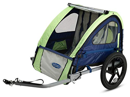 Instep Bike Trailer for Kids, Single and Double Seat, Single Seat, Green/Grey