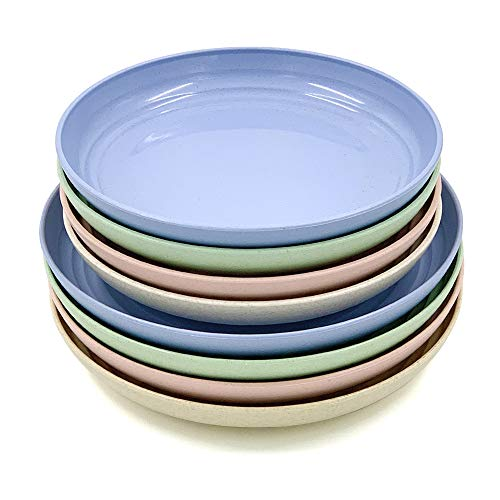 Thatyro - Juego de 8 platos de paja de trigo, irrompibles, ligeros, platos de cena aptos para microondas, perfecto para ensalada, pasta, carne, frutas (7.8 pulgadas, 8.8 pulgadas)