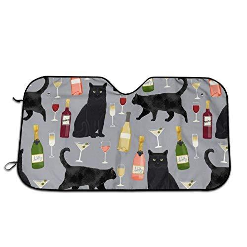 Olive Croft Vino de Gato Negro Protector para Parabrisas, Protector de Parabrisas Protección UV, Antihielo y Nieve Funda 130 X 70 cm