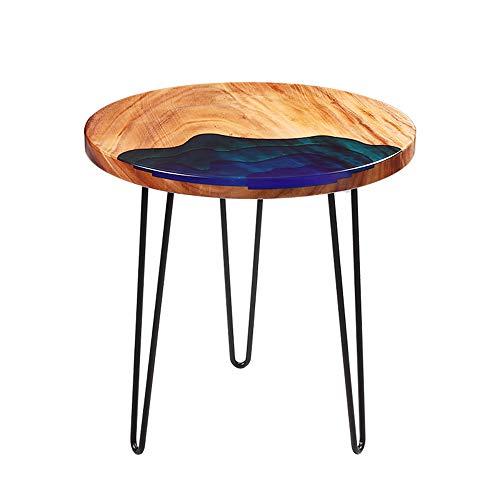 ZHIRONG Mode Nordique Rond Table Basse Salon Bois Massif Table D'appoint Canapé Table D'ordinateur Portable Balcon Table De Loisirs,23.6''x21.6''