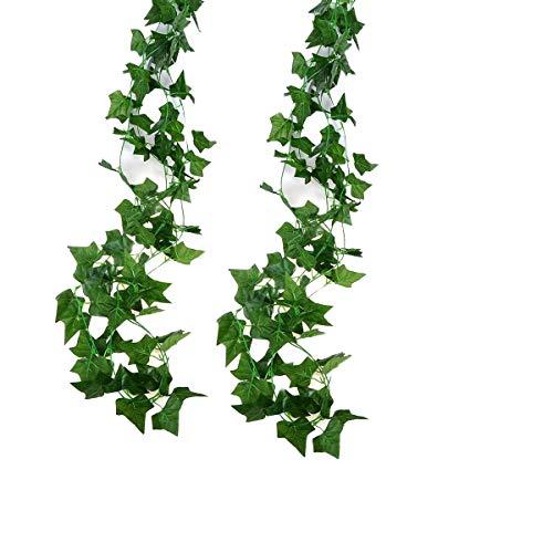 Jandrun 2 Stück Efeugirlande Künstlich Hängende Rebe 2.5M, 56 Stücke Größen Blätter Efeu Efeuranke Kunstblumen für Hochzeit Party Garten Festival Dekorationen Wanddekoration (grün 2Stück)