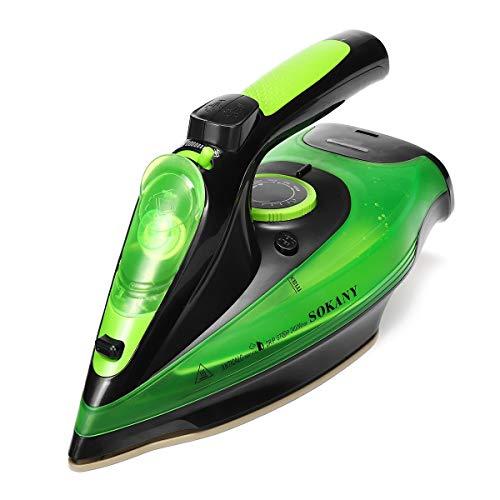 QSCTYG 2 400 W trådlöst elektriskt ångstrykjärn 5 hastighetsjustering för kläder ångrengörare kläder galge ångare keramisk sula bärbar ångplattare 493 (färg: grön)