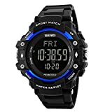 SKMEI Men Digital Sports Watches with Heart Rate Monitor, Pedometer Calorie Military Waterproof