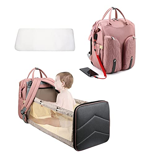 YYL Diaper Bag Backpack with USB Port, Baby Nappy Changing Backpack Bag with Stroller Straps, Multi-Function Waterproof Stylish Bag