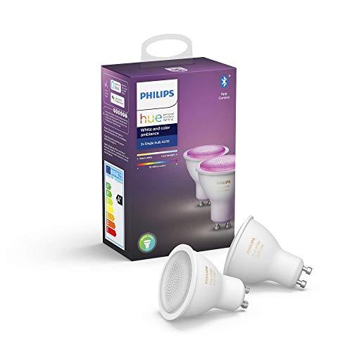 Philips Lighting Hue Ampoules LED Connectées White & Color Ambiance GU10 Compatible Bluetooth, Fonctionne avec Alexa - Pack de 2 Ampoules