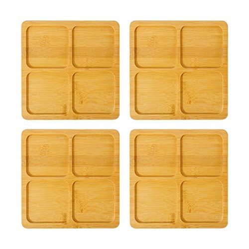 Paquete de 4 platillos de bambú para plantas, apto para macetas de 5,8 a 15,5 cm, bandejas para platillos para interiores y exteriores, jardín, oficina, suculentas y macetas, bonsai (12 x 12 cm)