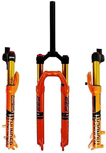 LIMQ Horquilla De Suspensión para Bicicleta Muelle Neumático MTB De 27'29' Dirección Recta 1-1/8'Recorrido 100 Mm Freno De Disco Bloqueo Manual 9 Mm QR,Orange-29inch