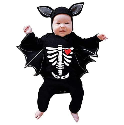 TMOYJPX Halloween Disfraz Bebe 3-24 meses Otoño Murciélago Mameluco - Peleles + Sombrero, Disfraces Mono Ropa Recién Nacido Niño Niña Invierno Fotos (C#Esqueleto, 12-18 meses)