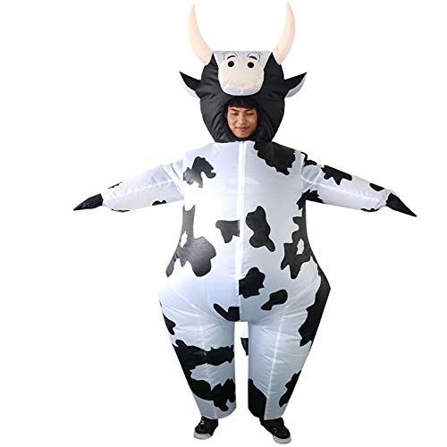 JUNENG Aufblasbares Kostüm, Kühe Cosplay Blow-up Suit, Design Inflatable Costume für Halloween Festival,Schwarz,one Size