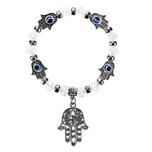 Bohemia turco mal de ojo Fátima mano pulseras elásticas cuentas de diamantes de imitación colgante de aleación pulsera mujeres niñas joyería ajustable 19Cm