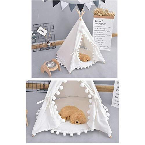 WSJF Hond Tent Draagbare Huisdier Kat Teepee Verwijderbaar En Wasbaar Schattig Mode Kat Bed Geschikt Voor Kleine En Medium Huisdieren, ContainMat, Kleur: wit
