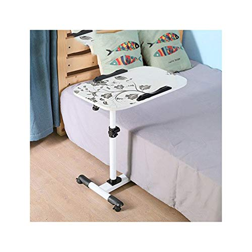 ALBBMY Rolling Computer Desk Portable Desk With Castor Wheels Tray Sofa End Table Rolling Coffee Side Table laptop cart (Color : Supreme White print)