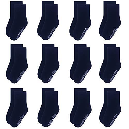 Yafane Baby Socken Antirutsch Anti-Rutsch Neugeborenes Kinder Kleinkinder Babysocken für Baby Jungen und Mädchen (Schwarz - 12 Paar, 1-3 Jahre)