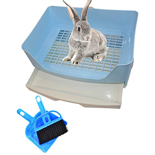 PINVNBY Large Rabbit Litter Box Bigger Pet Litter Pan Trainer with Drawer Corner Toilet Box for Adult Guinea Pigs Chinchilla Ferret Hedgehog Small Animals(Blue)