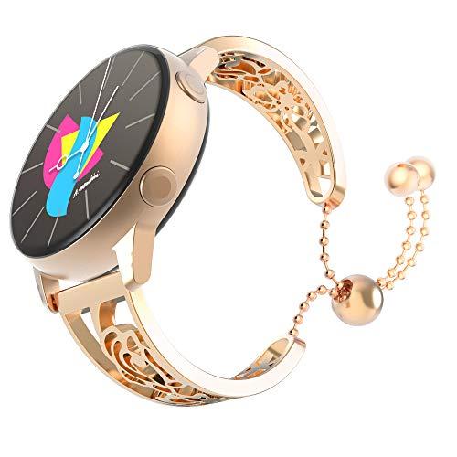 MoKo Correa para Reloj Compatible con Galaxy Watch 3 41mm/Galaxy Watch 42mm/Galaxy Watch Active/Active 2/Gear S2 Classic/Huawei Watch GT/GT 2 42mm, 20mm Pulsera de Acero Inoxidable, Oro Rosa