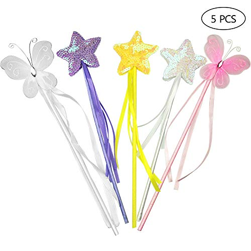 Christmas Angel Fairy Silver Star Wand with Pink Marabou /& Tinsel Fun Party Acce