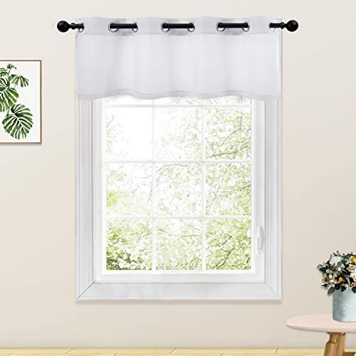 White Valance Curtains 18 inches Long Linen Textured Semi Sheer Curtain Valance Living Room product image