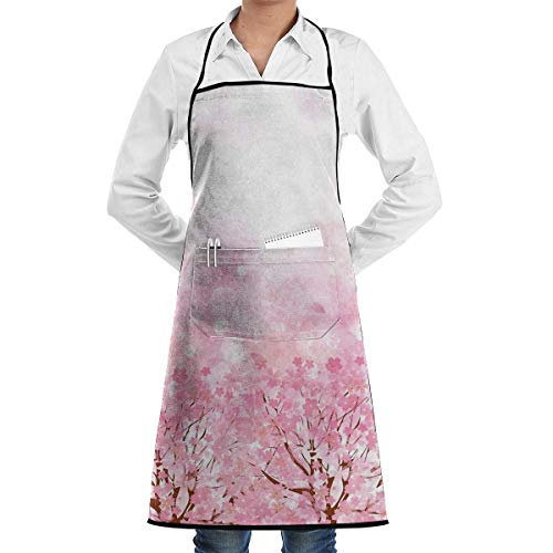 Japanese Cherry Blossom Grill Aprons Kitchen Chef Bib - Professional for BBQ Baking Cooking for Men Women Pockets Childrens Aprons
