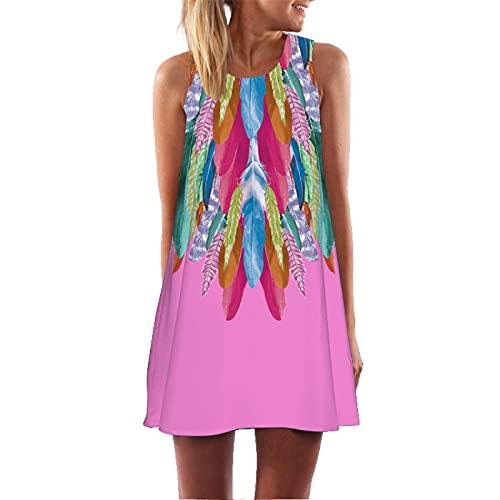 Vestido De Tirantes De Cuello Redondo para Mujer Verano Casual Estilo Boho Cuello De Cuchara Floral Playa Vestido De Longitud Media Chaleco Delgado L