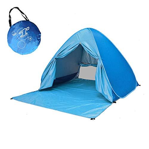 Strandunterstand Pop-up-Zelt für 2-3 Personen, automatisches sofortiges, tragbares Babydach, UPF 50+ für UV-Sonnenschutz, wasserdichter Sonnenschutz Familiencamping, Angeln, Picknick, Strand (Blau)