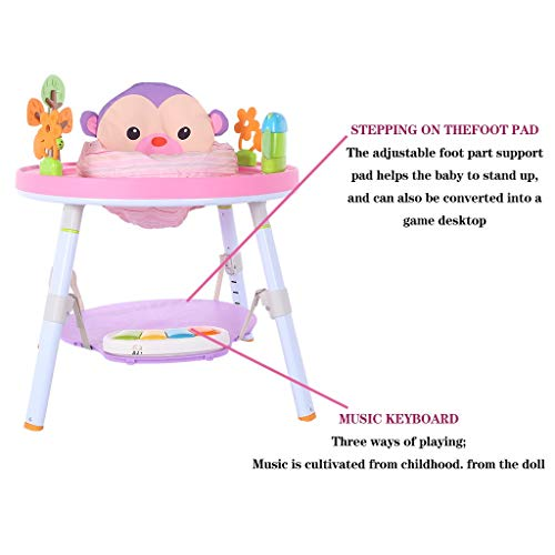 Qazqa 3 in 1 Sit-to-Stand Activity Center | Baby Jump Rocking Chair, 360-Degree Rotating Seat, Fun Interactive Play Center Workbench with Pedal Piano Music Rack, Bounce Baby Toddler Learn Jumper Toy
