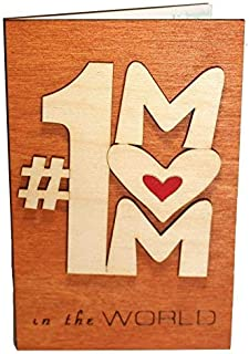 Real Wood # Number One 1 Mom Funny Greeting Card Sentimental Quotes for Mommy Step God Mother to Be In Law Unique Happy Birthday Wooden Gift Thank You Present from Baby Husband Son or Daughter E