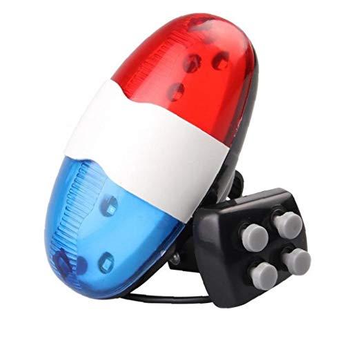 Hotaden Bell de la Bicicleta 6 LED 4 Tono de bocina llevados de la luz Sirena electrónica timbres de Bicicleta para niños Accesorios de la Bici
