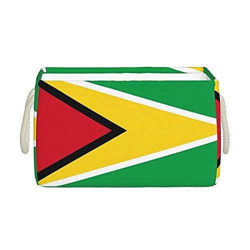 Aufbewahrungskörbe, Guyana-Flagge, Aufbewahrungskorb, faltbar, dekorative Körbe, Organisationsbox mit Handgriffen für Kleidung, Regal, Zuhause, Schrank, Schlafzimmer, 40 x 25 x 20 cm