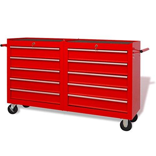 Gereedschapswagen met 10 schuifladen XXL staal rood met 4 wielen