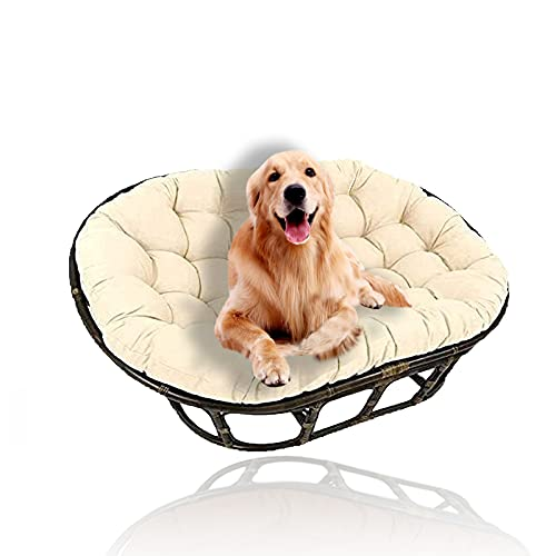 YHWL Cojines dobles de Papasan, cojín para silla de huevo, para colgar en la silla con lazos, cojines para silla de columpio, solo para patio al aire libre, jardín (sin silla), beige, 50 x 90 cm
