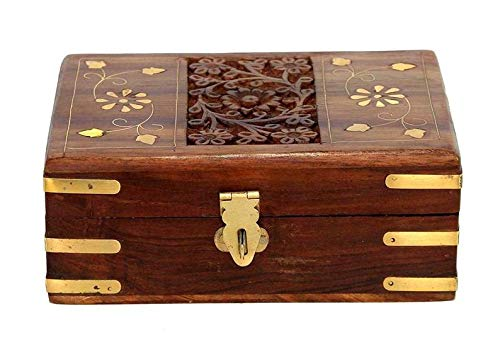 WorldOfIndianArt presenta caja de almacenamiento de madera hecha a mano para guardar joyas, organizador para tallar incrustaciones de latón de 15 cm