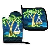 FJAR8 Juego de guantes de horno y soporte para ollas, 2 piezas, diseño de palmera de neón tropical, hojas de verano, set de regalo de cocina para cocina, hornear, barbacoa
