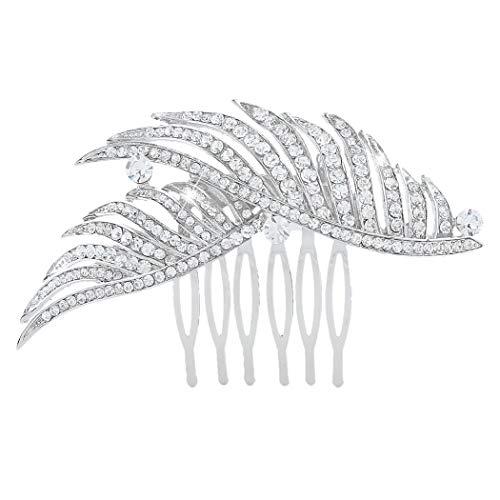 EVER FAITH Women s Austrian Crystal Bridal Elegant 2 Peacock Feather Hair Comb Clear Silver-Tone